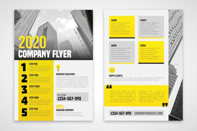 2020 company flyer in golden tones