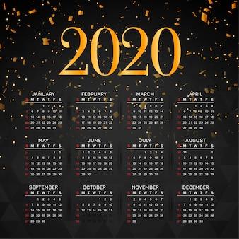 スタイリッシュな新年2020年カレンダーconffetiデザイン