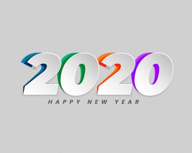 2020 in creative paper cut style background