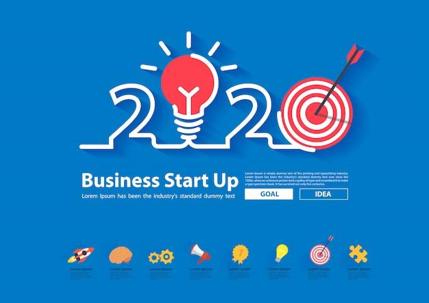 창의적인 디자인으로 2020 창의력 영감 목표 아이디어 개념