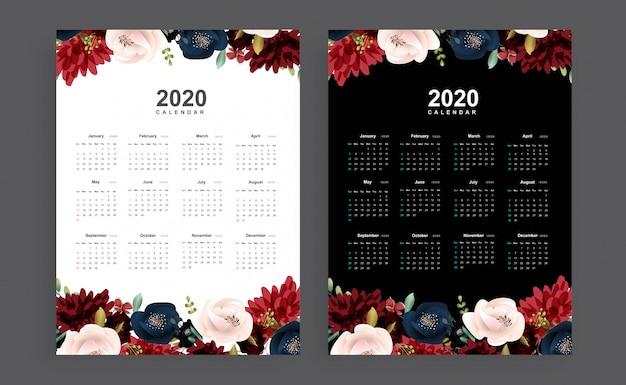 2020 floral theme calendar