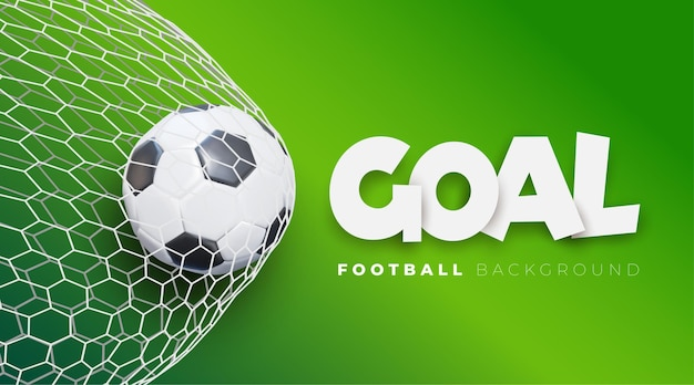2020 football goal background. vector soccer banner with ball in net