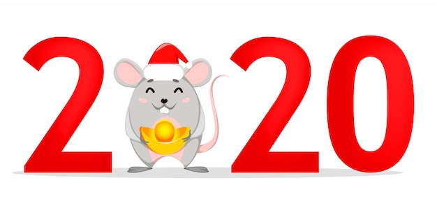 2020 and funny rat on place of zero