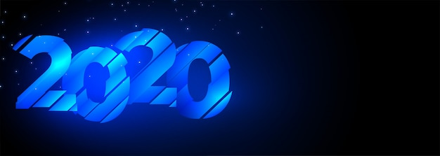 2020 glowing blue creative happy new year banner