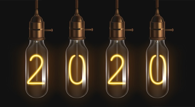 2020 glowing numbers inside of filament bulbs
