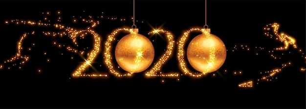 2020 golden new year banner with flying sparkles