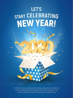 2020 golden number fly from blue gift box. poster of celebration new year template