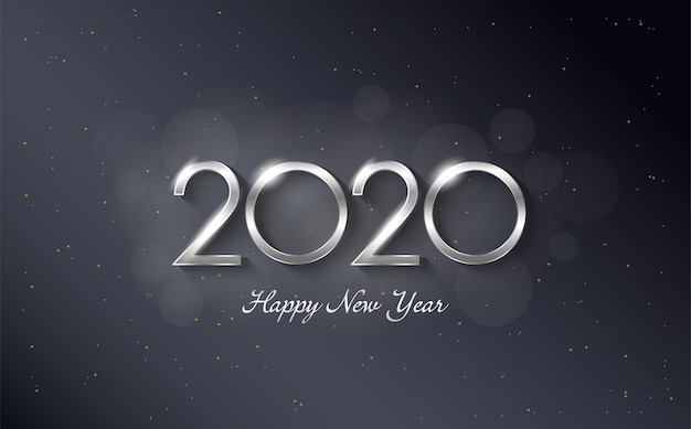 2020 happy birthday background with elegant and luxurious silver colored figures
