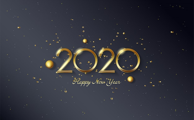 2020 happy birthday background with gold beads and gold colored figures