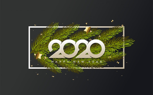 2020 happy birthday background with illustrations of pine leaves under white numbers