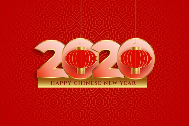 2020 happy chinese new year decorative greeting card design