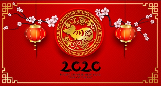 2020 happy chinese new year. design with flowers and rat on red background. paper art style. happy rat year. .