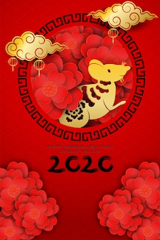2020 happy chinese new year design with flowers and rat