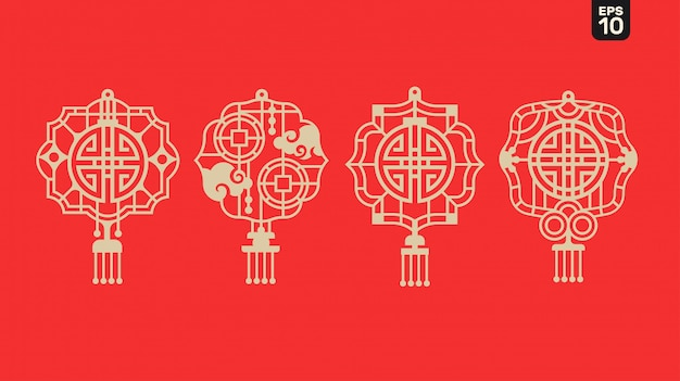 2020 happy chinese new year of lantern with blessing and prosperity symbol, and lattice frame on