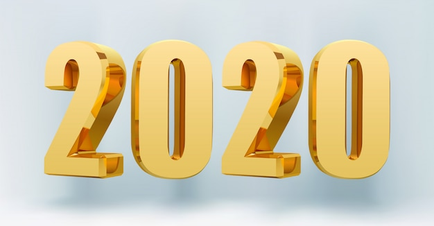 2020 happy new year 3d numbers.