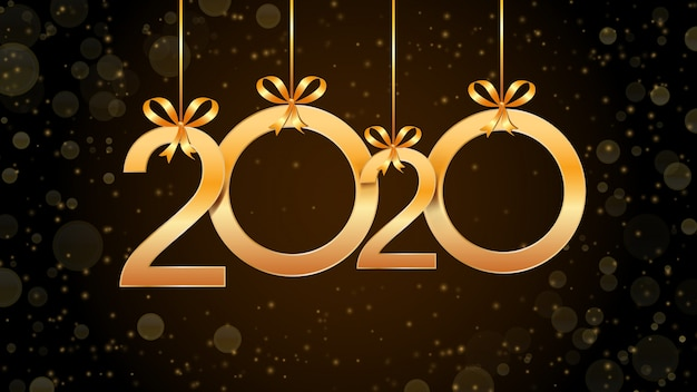 2020 happy new year abstract with hanging golden numbers, glitter and bokeh effect.