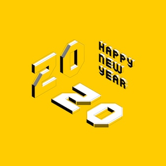 2020 happy new year banner design layout with isometric letters for greeting card, poster, invitation, brochure