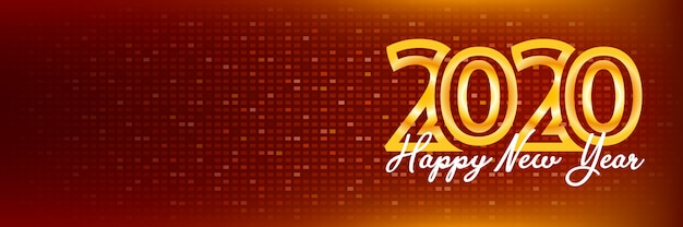2020 happy new year banner gold color