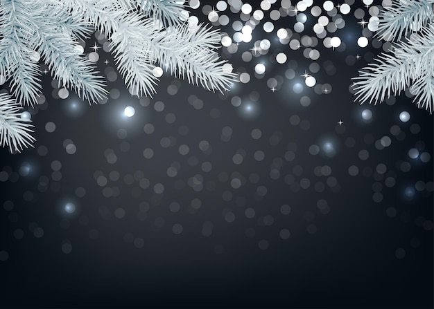 2020 happy new year black background with glittering sparkle and silver spruce branch. christmas decoration. vector winter holiday greeting card template.