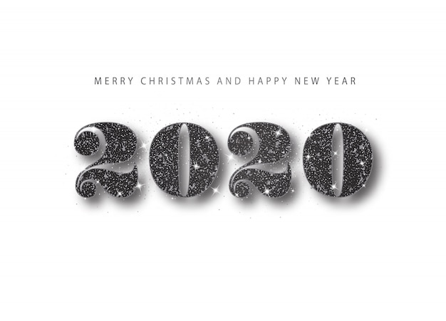 2020 happy new year. black glitter number. holiday greeting banner in minimal style