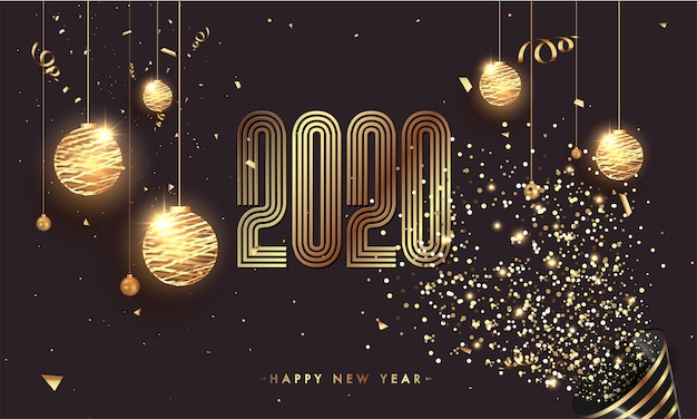 2020 happy new year celebration concept with hanging illuminated baubles and party popper falling glitter confetti on brown background.