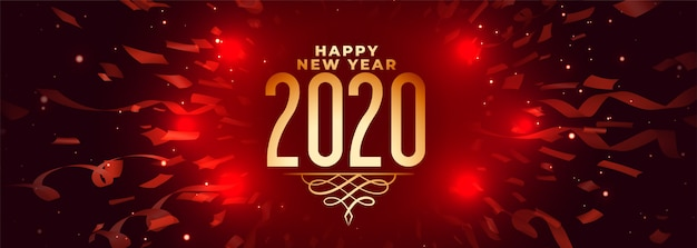 2020 happy new year celebration red banner with confetti