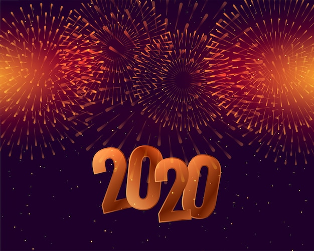 2020 happy new year celebration  with fireworks