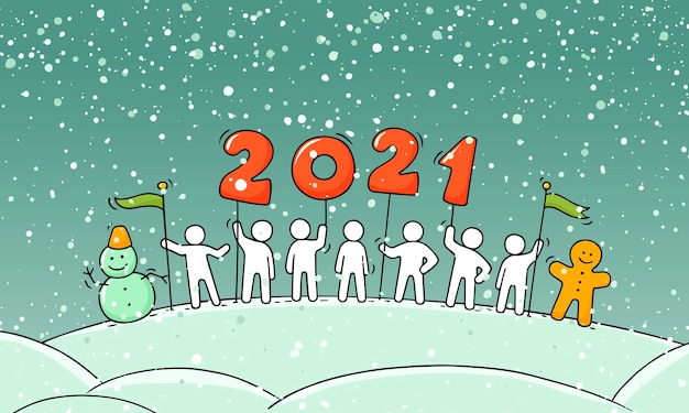 2020 happy new year concept. cartoon doodle illustration with liitle people prepare to celebration. hand drawn vector for christmas design.