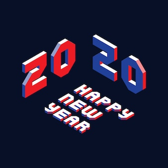 2020 happy new year design layout with isometric letters in geometric style