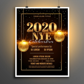 2020 happy new year eve party flyer or poster template