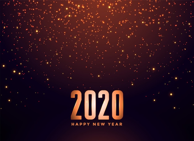 2020 happy new year falling sparkles background