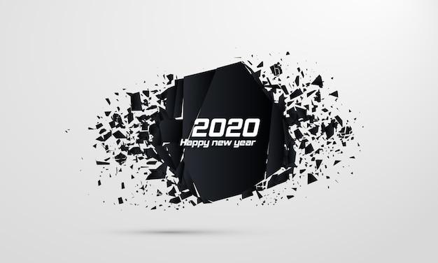 2020 happy new year. geometric banners