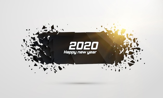 2020 happy new year. geometric destruction shapes.