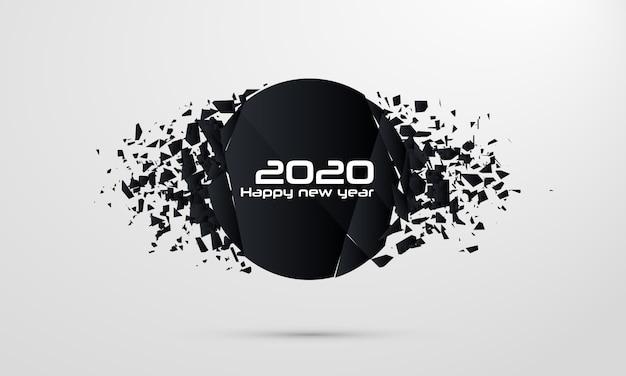 2020明けましておめでとうございます。幾何学的破壊形状。