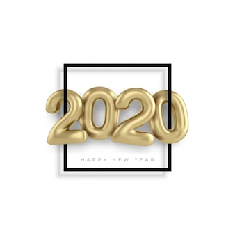 2020 happy new year gold 3d sing numbers