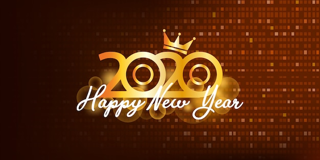 2020 happy new year gold background