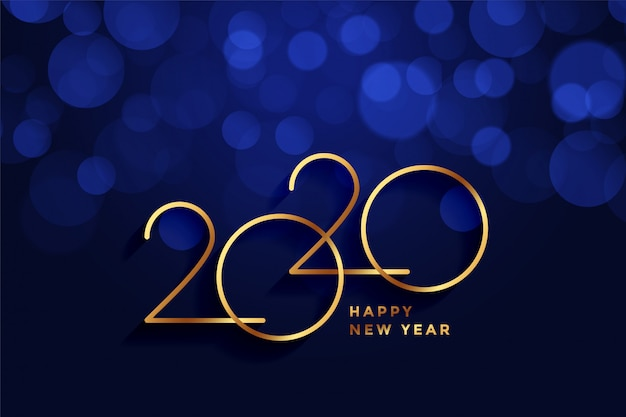 2020 happy new year gold and blue bokeh greeting card