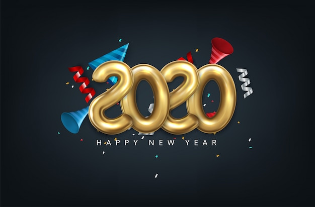 2020 happy new year in gold. numbers minimalist style 2020 balloon isolated