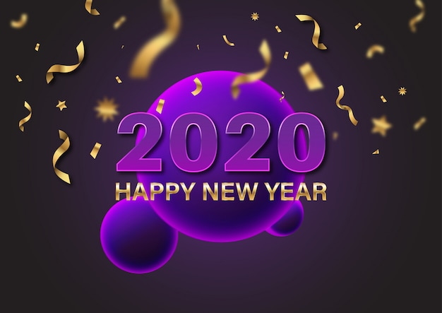 2020 happy new year gold sign text and number