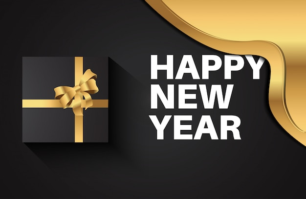 2020 happy new year greeting card for celebration. luxury 3d gift box with gold ribbon