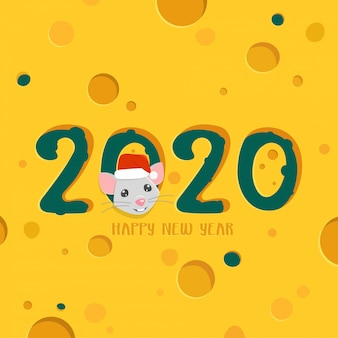 2020 happy new year greeting card. cheese background with cartoon rat.
