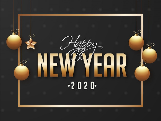 2020, happy new year greeting card  decorated with hanging golden baubles and star on black .
