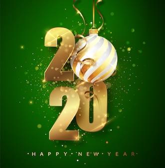 2020 happy new year greeting card illustration