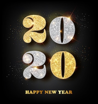 2020 happy new year greeting card with gold and silver numbers on black