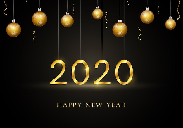 2020 happy new year greeting card with gold text.
