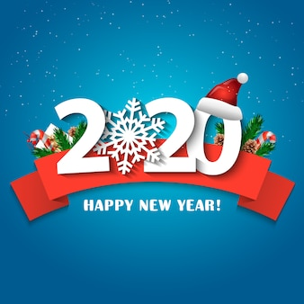 2020 happy new year greeting card