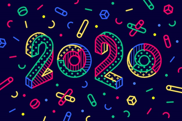 2020, happy new year greeting card