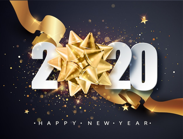 2020 happy new year. happy new year 2020, new year shining background with golden gift bow and glitter.