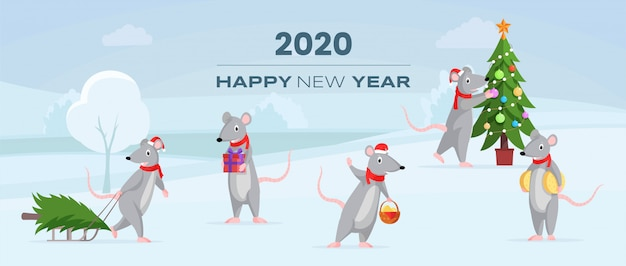 2020 с новым годом горизонтальный баннер