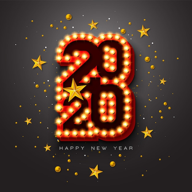 2020 happy new year illustration with 3d light bulb typography lettering and christmas ball on black background.